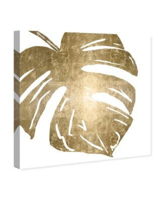Tropical Leaves Square II Gold Metallic Canvas Art, 24