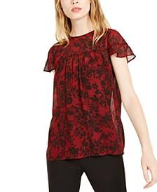 Chantilly Flutter-Sleeve Top