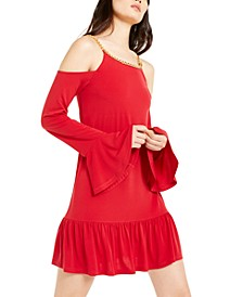 Cold-Shoulder Ruffled Dress, Regular & Petite
