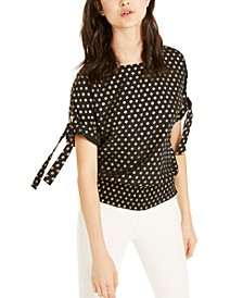Logo Tie-Sleeve Top, Regular & Petite