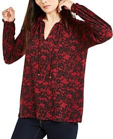Lace-Print Tie-Neck Top