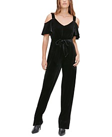 Velvet Cold-Shoulder Jumpsuit