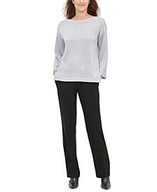 Button-Shoulder Metallic Sweater