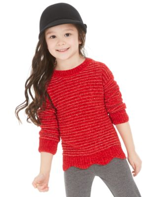 Little Girls Scalloped Hem Sweater, Created For Macy's