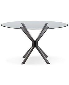 "Deen 60"" Glass Top Round Dining Table"