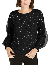 INC Embellished-Overlay Sweater, Created For Macy's