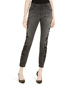 INC  Flocked Leopard-Print Skinny Jeans, Created For Macy's