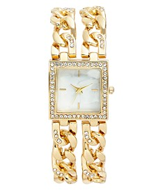 Women's Crystal Gold-Tone Double Chain Bracelet Watch 27mm, Created For Macy's