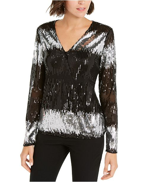 INC International Concepts INC Petite Sequinned Surplice Top, Created For Macy's