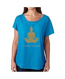 Women's Dolman Cut Word Art Shirt - Inhale Exhale