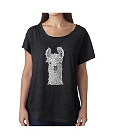 Women's Dolman Cut Word Art Shirt - Llama
