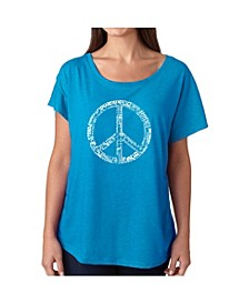 Women's Dolman Cut Word Art Shirt - The Word Peace in 77 Languages