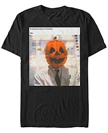 Halloween 3 Men's Pumpkin Head Meme Me In October Short Sleeve T-Shirt