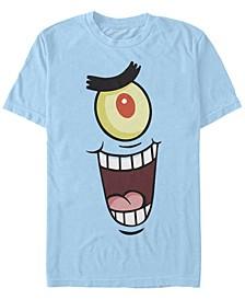 Nickelodeon Men's SpongeBob Square pants Plankton Big Face Costume Short Sleeve T-Shirt