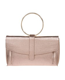 Metallic Texture Fabric Expandable Front Clutch with Ring Handle