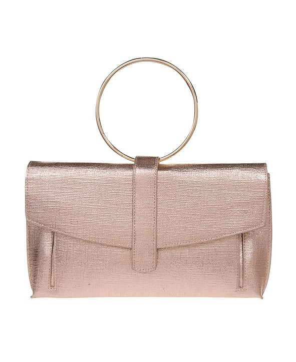 La Regale Women's Metallic Coated Polyester Envelope Clutch with Ring Handle