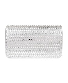 Horizontal Chevron Crystal Flap Clutch