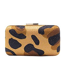 Animal Print Satin with Crystal Overlay Minaudiere