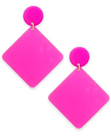 INC Gold-Tone Tilted Square Drop Earrings, Created For Macy's