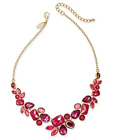 """Gold-Tone Multi-Stone Statement Necklace, 17"""" + 3"""" extender, Created For Macy's"""