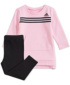 Baby Girls 2-Pc. Three-Stripe Dress & Leggings Set