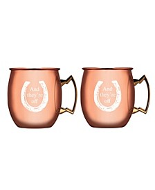 """And Theyr'e Off"" Copper Moscow Mule Mugs - Set of 2"