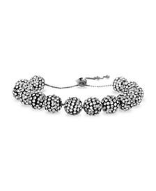 Rhinestone Ball Stretch Bracelet in Silvertone Alloy