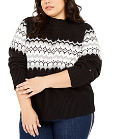 Plus Size Fair Isle Mock-Neck Sweater