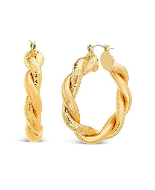 "Steve Madden Medium Gold Twisted Hoop Earring 1.6"""