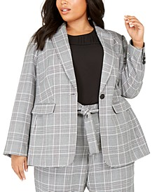 Plus Size Plaid One-Button Blazer