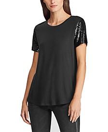 Petite Jersey Sequin-Sleeve Shirt