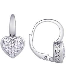 Diamond 1/4 ct. t.w. Heart Leverback Earrings in Sterling Silver