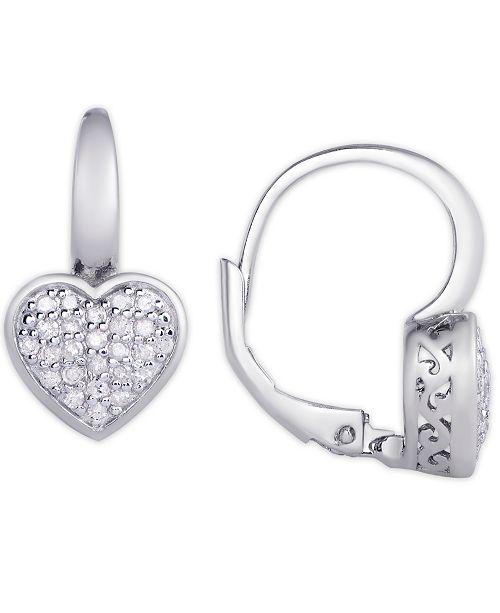 Macy's Diamond 1/4 ct. t.w. Heart Leverback Earrings in Sterling Silver