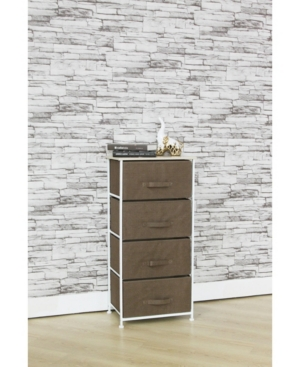Hds Trading 4 Drawer Dresser Rolling Storage Cart with Wood Top