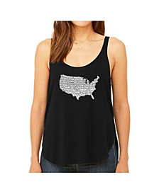 LA Pop Art Women's Premium Word Art Flowy Tank Top- The Star Spangled Banner