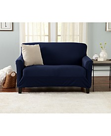 Home Fashions Designs Brenna Collection Stretch Fit Form Fitting Solid Twill Love Seat Slipcover