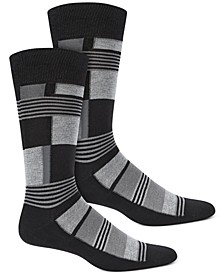 Men's Abstract Boxes Socks, Created for Macy's