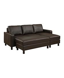 Kate Leather Sectional Sofa & Ottoman Set