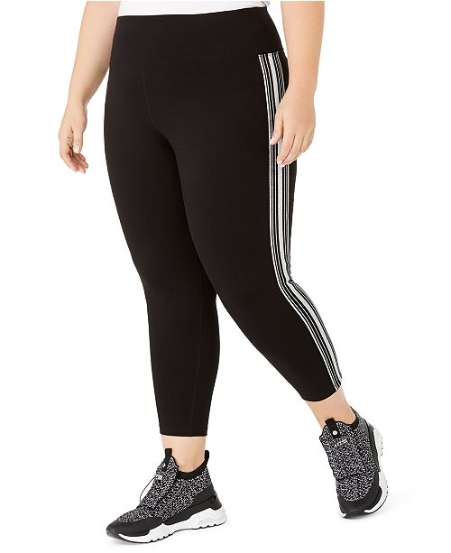 Calvin Klein Plus Size Essex Stripe Tricot Cropped Leggings