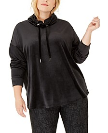Plus Size Cowlneck Drop-Shoulder Pullover