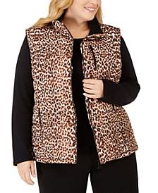 Plus Size Leopard-Print Puffer Vest