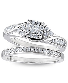 Certified Diamond 3/8 ct. t.w. Halo Bridal Set in 14k White Gold
