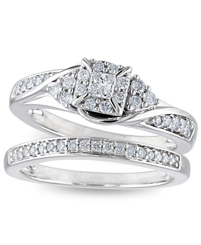 Macy's - Certified Diamond 3/8 ct. t.w. Halo Bridal Set in 14k White Gold