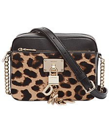 Elissa Top Zip Leopard Leather Camera Bag, Created For Macy's