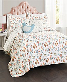 Chirpy Birds Reversible 5-Piece Full/Queen Quilt Set