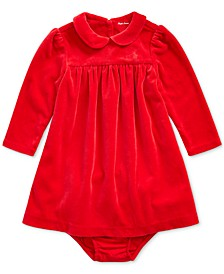 Baby Girls Velour Dress & Jersey Bloomer