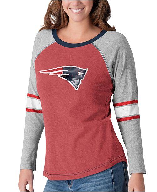 G-III Sports Women's New England Patriots Long Sleeve Top Pick T-Shirt