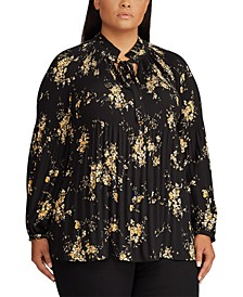 Plus Size Floral Tie-Neck Georgette Top