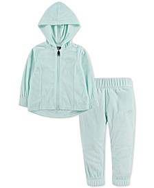 Baby Girls 2-Pc. Velour Zip-Up Hoodie & Pants Set