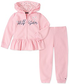 Little Girls 2-Pc. Ruffled Fleece Hoodie & Jogger Pants Set